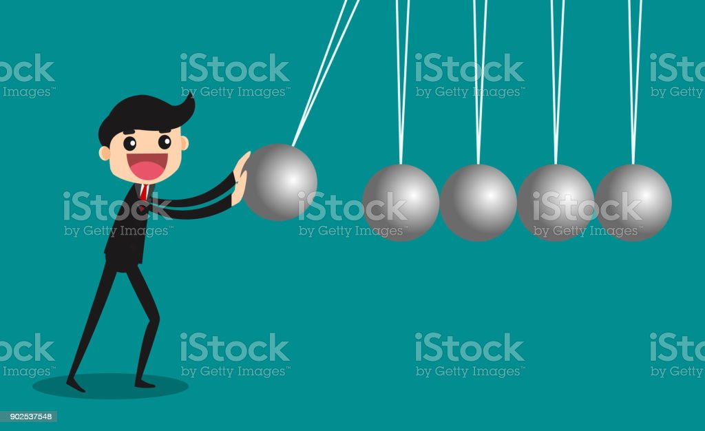 Business challenge concept with Newton cradle. vector illustration vector art illustration