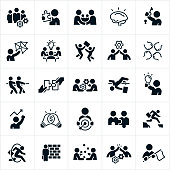 A set of business icons that symbolized solutions and answers to business related challenges. The icons include a business team with cogs, business person holding the missing piece to a puzzle, business people shaking hands, a business person holding up a key to a lock, a business team and a light bulb, fist bumps, business people participating in a tug-of-war, two pieces of a puzzle being put together, two business people connecting cogs, a business person high jumping, a business person holding up a light bulb, two light bulbs connected, a business person holding a target with an arrow in the bulls-eye, two business people connected as a puzzle, a business person jumping a canyon gap, a business person jumping through a hoop, a business person facing a brick wall, two business people juggling, two business people giving each other a high five and a business person holding a flag.