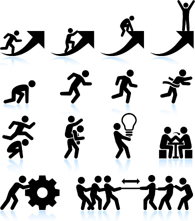 Business challenges Teamwork and achievement black & white icon set
