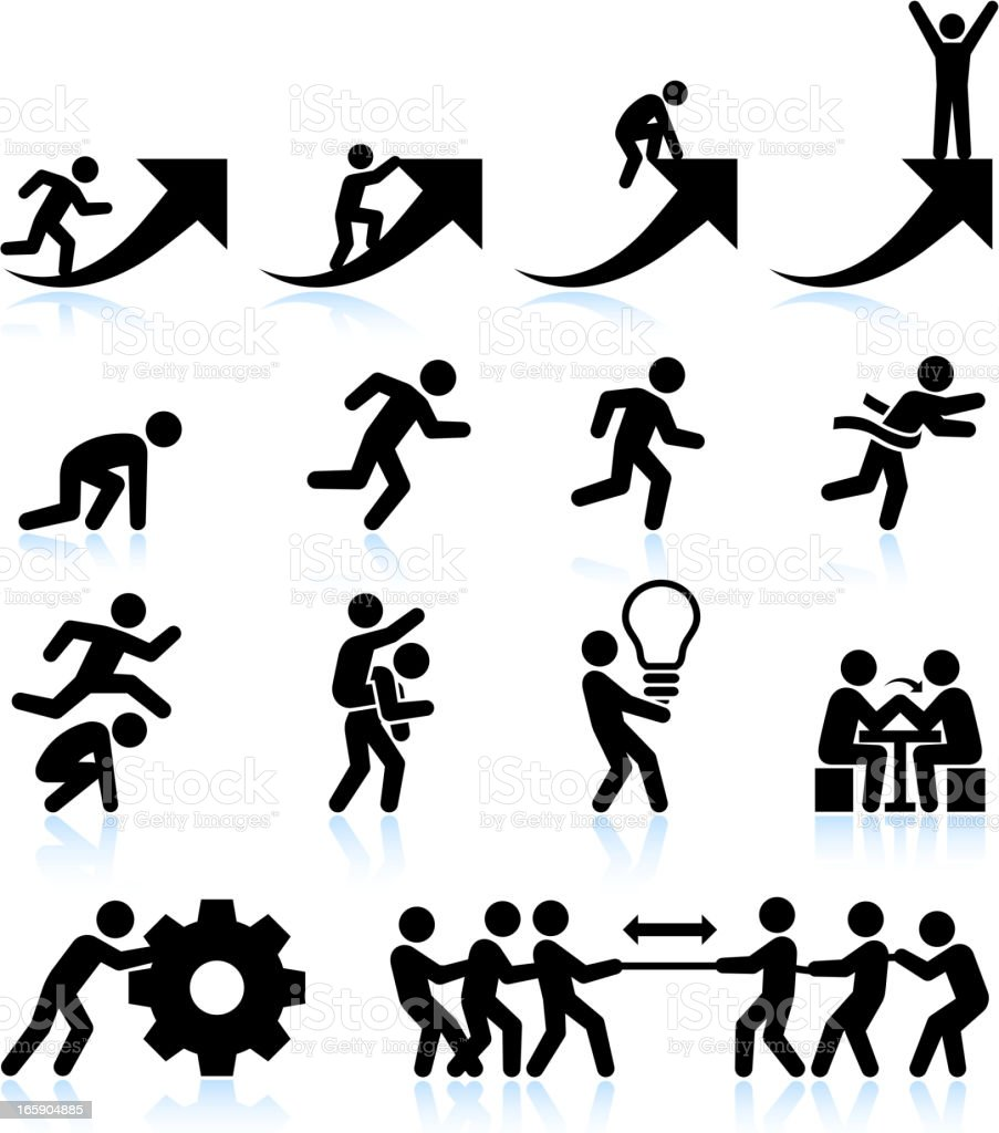 Business challenges Teamwork and achievement black & white icon set vector art illustration