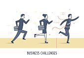Abstract and symbolic presentation. Business people running into the same direction. Outline vector illustration.