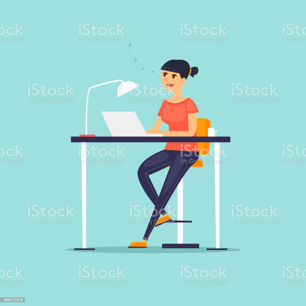 Business-Charakter. Mädchen arbeitet am Computer. Co arbeitenden Menschen treffen. Am Arbeitsplatz. Büroalltag. Flaches Design-Vektor-Illustration. – Vektorgrafik