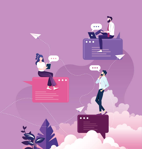 bir kabarcık konuşma üzerinde oturan iş karakteri. sosyal medya konsepti - telefon kullanımı stock illustrations