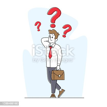 istock Business Character Thinking, Searching Solution or Decision for Difficult Answer Concept. Thoughtful Man with Briefcase 1288486160