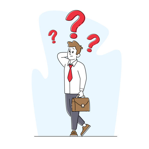 Business Character Thinking, Searching Solution or Decision for Difficult Answer Concept. Thoughtful Man with Briefcase Business Male Character Thinking, Searching Solution or Decision for Difficult Answer Concept. Thoughtful Man with Briefcase Scratching Head with Huge Question Marks above. Linear Vector Illustration human head stock illustrations