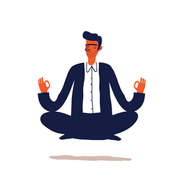 business character Businessman meditation in office.  Young man relaxing in lotus position. Cartoon Vector illustration. tranquility stock illustrations