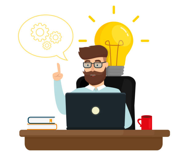 Business character working in office creating new business idea. Idea concept. Flat vector illustration. Business character working in office creating new business idea. Idea concept. Flat vector illustration. happy boss stock illustrations