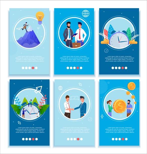 Business-Charaktere und Erfolg Mobile Banner Set – Vektorgrafik