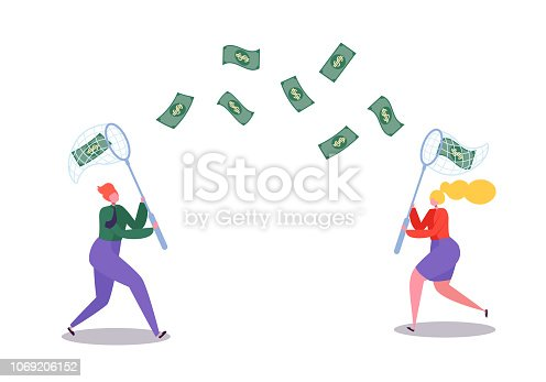 Business Characters Catching Flying Money with a Butterfly Net. Financial Success, Business Opportunity, Wealth Concept. Vector illustration