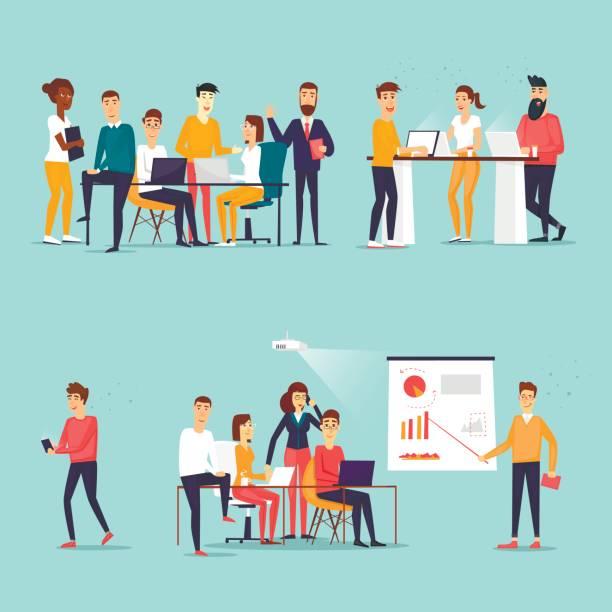 ilustraciones, imágenes clip art, dibujos animados e iconos de stock de personajes de negocios. co los trabajadores, reuniones, trabajo en equipo, colaboración y discusión, tabla de conferencia, tormenta de ideas. lugar de trabajo. vida de oficina. ilustración de vector de diseño plano. - gente de negocios