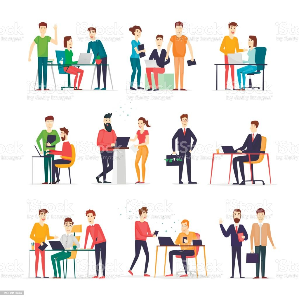 Business Characters Co Working People Meeting Teamwork
