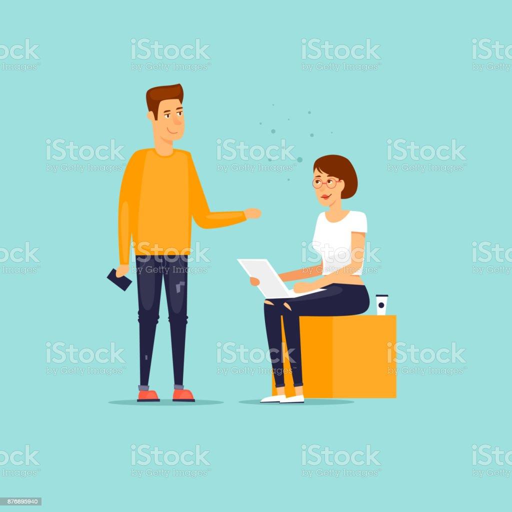 Geschäft Zeichen. Co arbeitenden Menschen treffen, Teamarbeit, Zusammenarbeit und Diskussion, Konferenztisch, Brainstorming. Am Arbeitsplatz. Büroalltag. Flaches Design-Vektor-Illustration. – Vektorgrafik