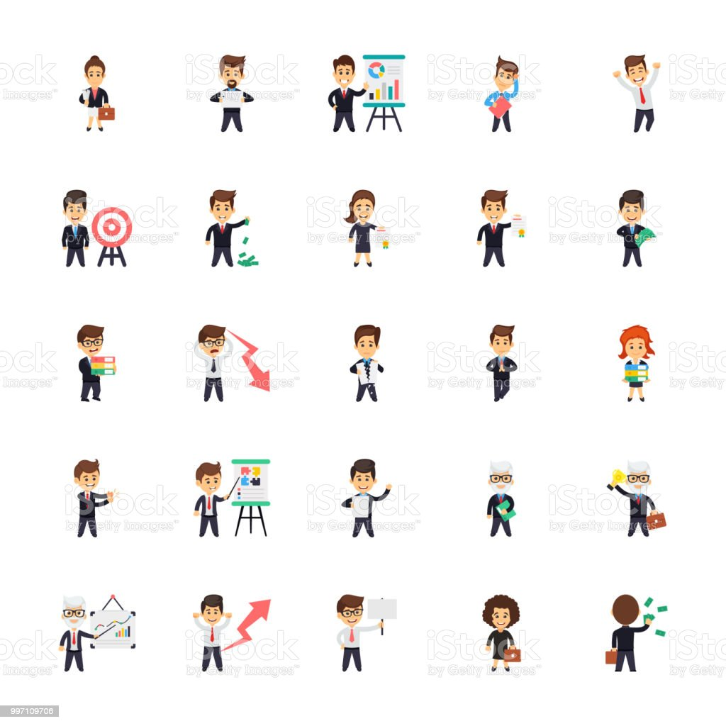 Business Characters Flat Icons Collection vector art illustration