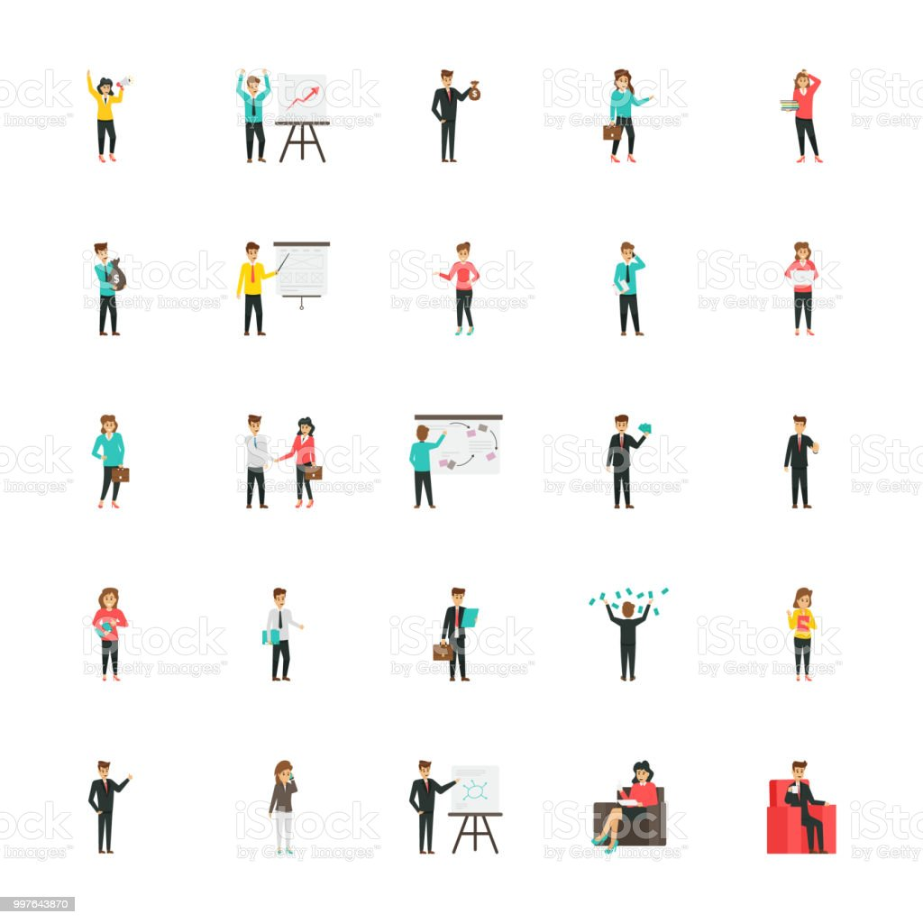 Business Characters Flat Icons Pack vector art illustration