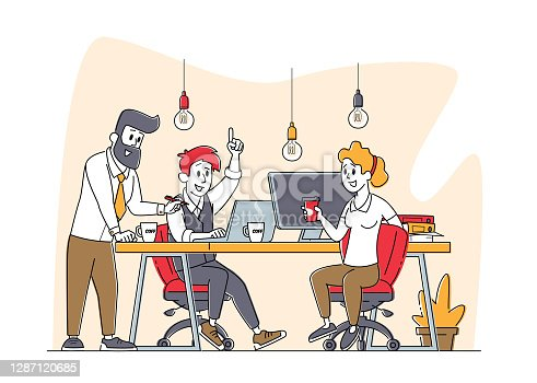 Business Characters Group Work Together Developing Creative Ideas. Businesspeople Teamwork, Office Employees Cooperation, Collective Work, Partnership or Brainstorm. Linear People Vector Illustration