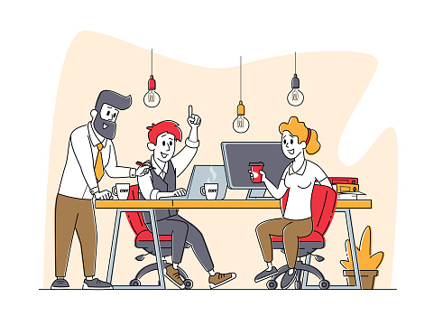 Business Characters Group Work Together Developing Creative Ideas. Businesspeople Teamwork, Office Employees Cooperation