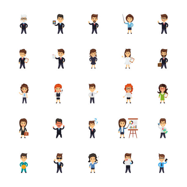 Business Characters Icons Set vector art illustration