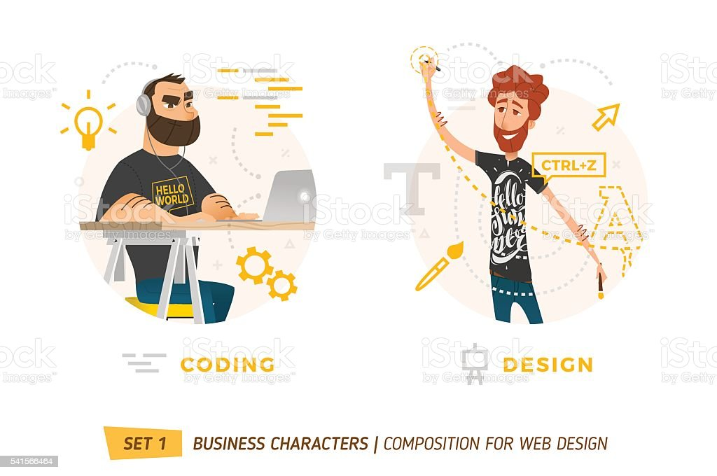 Business characters in circle. vector art illustration
