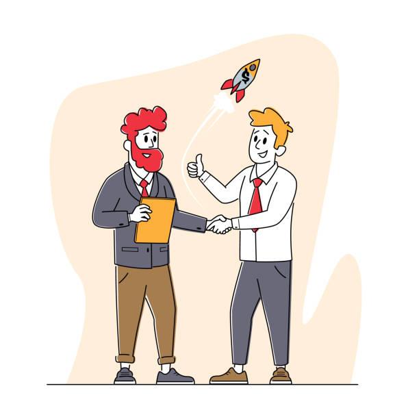 bildbanksillustrationer, clip art samt tecknat material och ikoner med business characters möte skakar hand. unga män står ansikte mot ansikte handslag för start up project. signerat kontrakt - client meeting