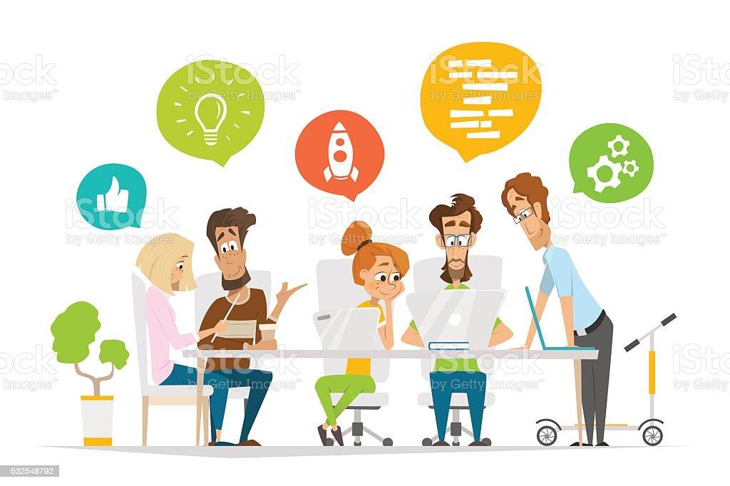 ビジネスの人々のチームが、一連の文字シーンで現代的なオフィス ベクターアートイラスト