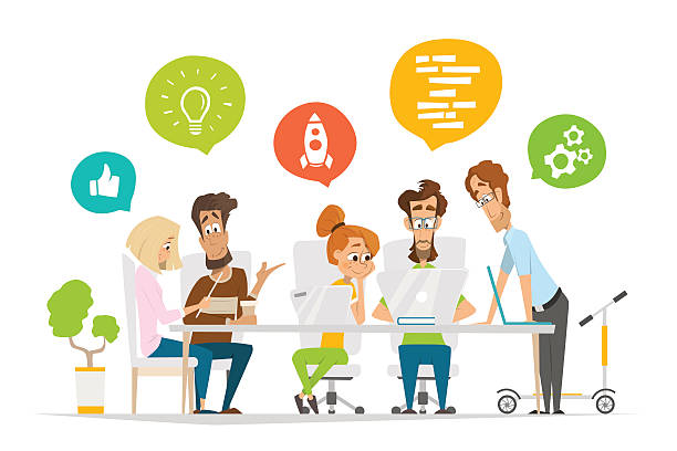 ビジネスの人々のチームが、一連の文字シーンで現代的なオフィス - 旅行代理店点のイラスト素材/クリップアート素材/マンガ素材/アイコン素材