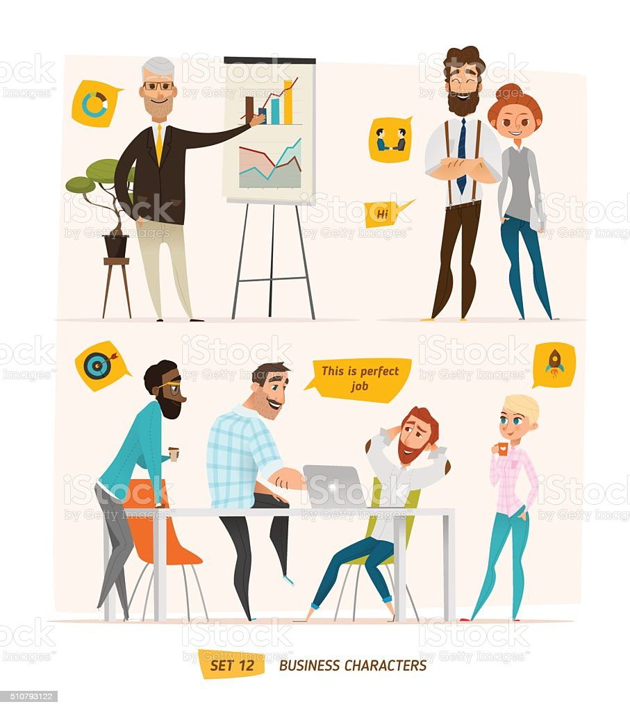 Business characters scenes vector art illustration