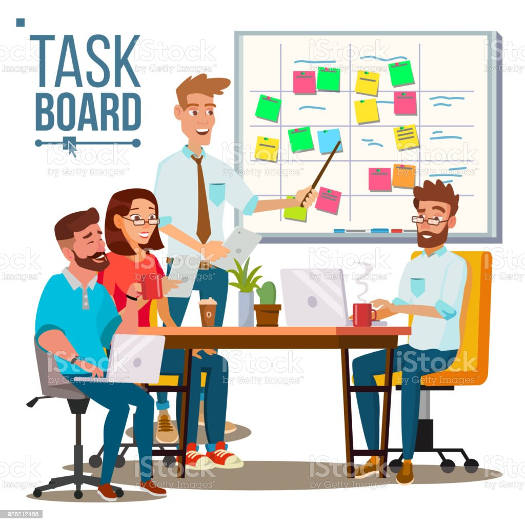 Business Characters Team Work Vector. Planning Team Work At The Scrum Board. IT Startup. Isolated Flat Cartoon Illustration vector art illustration