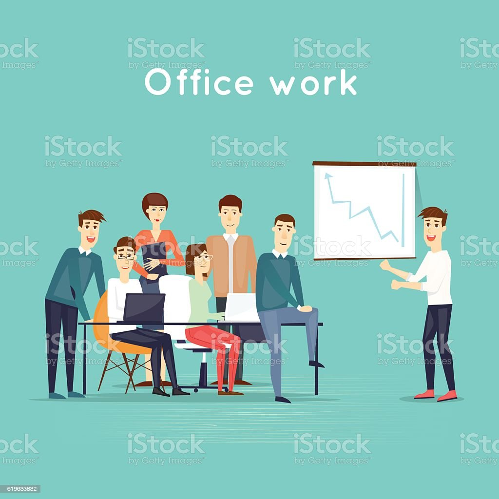 business characters teamwork presentation workplace office life