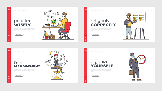 Business Characters Time Management Landing Page Template Set. People with Huge Clock, Business Working Process