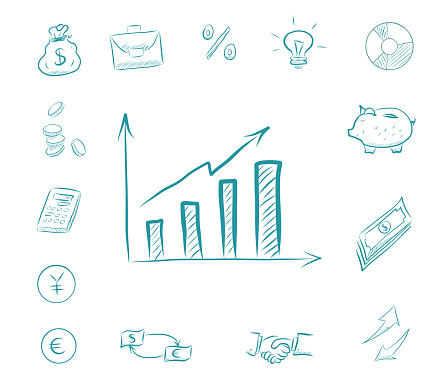 Business chart - icon finance set. Business icons with piggy bank, calculator, handshake, money exchange, idea bulb, arrows