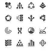 Set of 16 business chart vector icons.