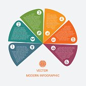 Business chart modern infographic vector template from color semicircle for 6 options processes, workflow, diagram, flowchart