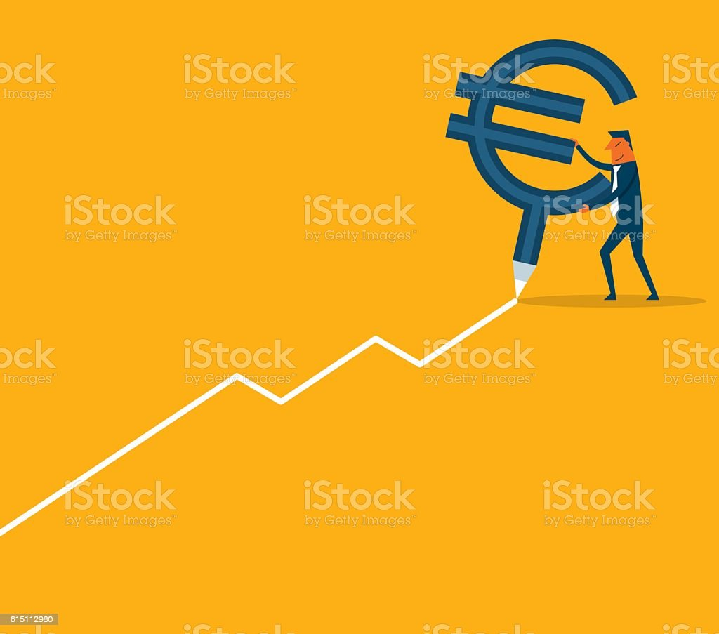 Business chart with Euro symbol vector art illustration