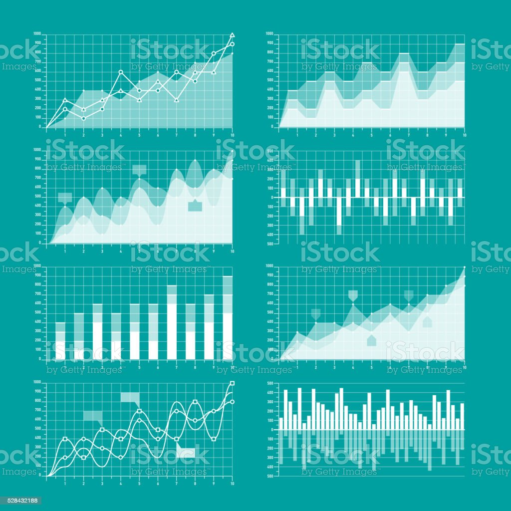 Business charts and graphs infographic elements vector art illustration