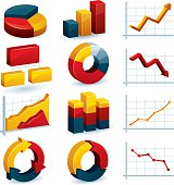 Charts and graphs for business related projects. All colors are global. File contains linear gradients.
