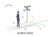 Abstract and symbolic presentation. Business Choices. Business man standing in front of crossroads. Outline vector illustration.