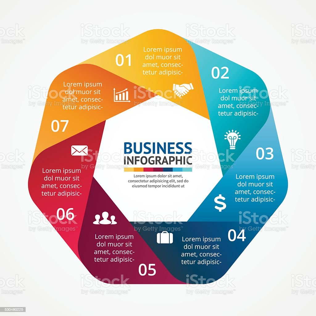 Business circle infographic, diagram with options vector art illustration