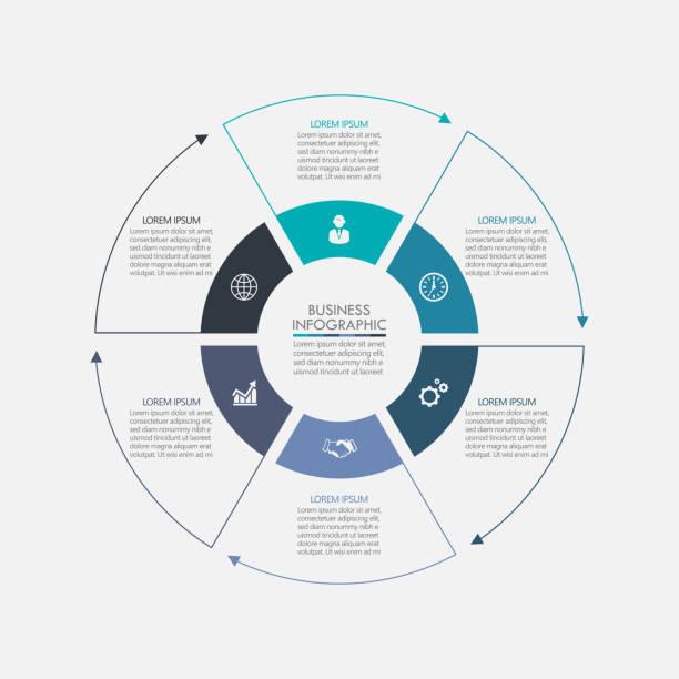 ilustrações, clipart, desenhos animados e ícones de círculo de negócios. ícones infográficos da linha do tempo projetados para modelo de fundo abstrato - infographic