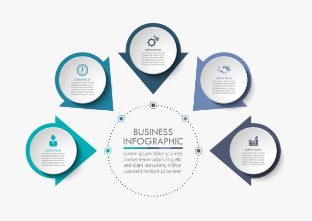 비즈니스 서클. 추상 배경 템플릿을 위해 설계된 타임 라인 인포 그래픽 아이콘 - 부분의 stock illustrations