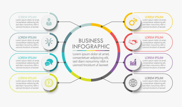Business circle. timeline infographic icons designed for abstract background template Business circle. timeline infographic icons designed for abstract background template milestone element modern diagram process technology digital marketing data presentation chart Vector number 8 stock illustrations