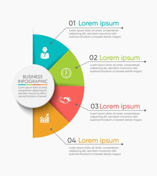 geschäftskreis. zeitachsen-infografiksymbole für abstrakte hintergrundvorlagen - treppe stock-grafiken, -clipart, -cartoons und -symbole