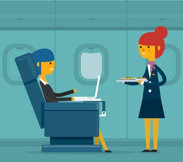 i̇ş sınıfı - iş kadını - airplane seat stock illustrations