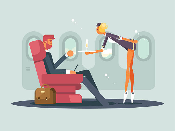 business class on plane - fahrzeugsitz stock-grafiken, -clipart, -cartoons und -symbole