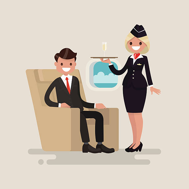 business class. the stewardess brings businessman the glass - class stock illustrations
