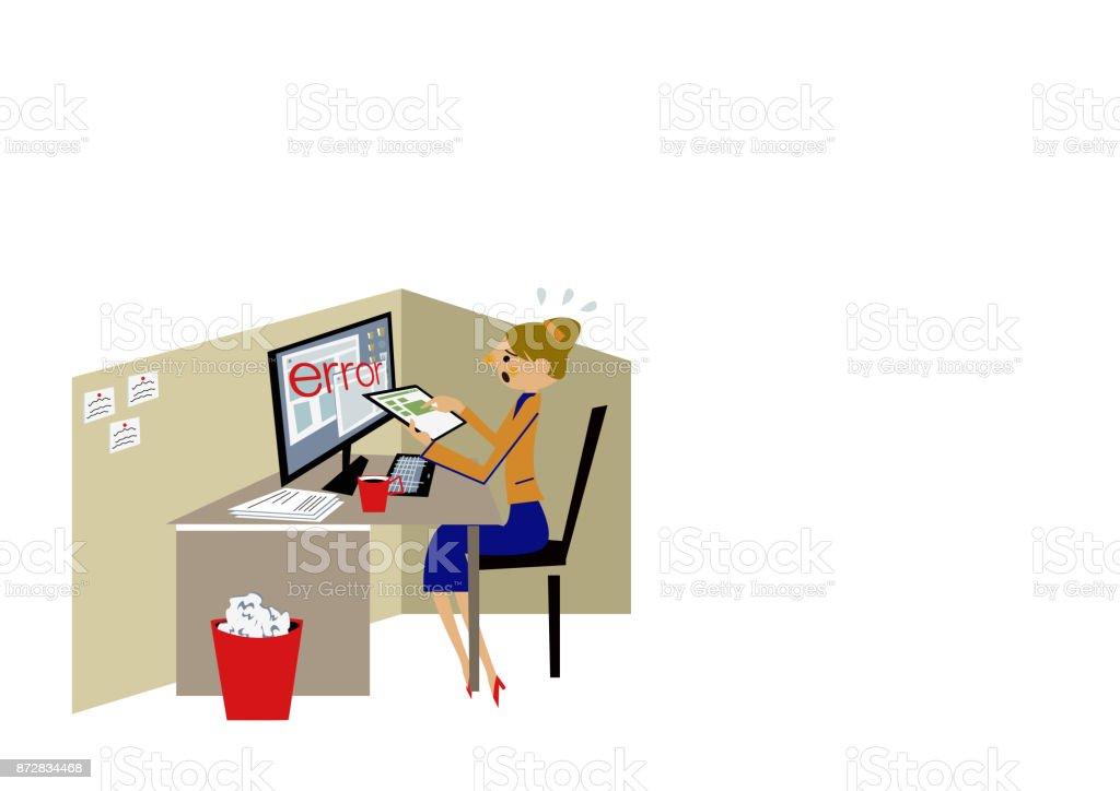 Businessclipartgrafiken Eine Frau Bei Der Arbeit Desktopcomputer