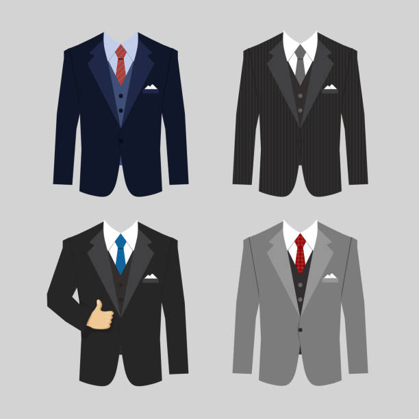 business clothing suit set of different colors business clothing suits vector eps10 illustration suit stock illustrations