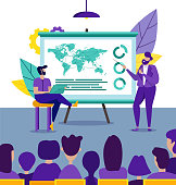 Business Coach Speaker Answering Questions at Corporate Office Training, Confident Diverse Managers. Corporate Flip Chart Presentation Consulting Training Employees, Cartoon Flat Vector Illustration