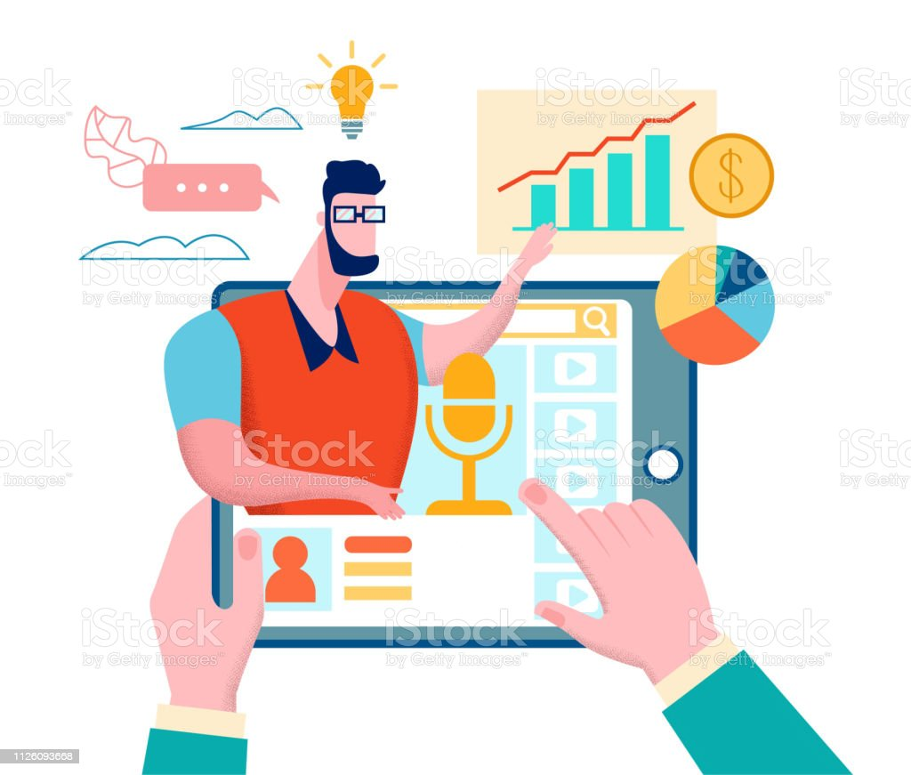 Business Coaching. Online Course. Hands Click Tablet. Graphs and...