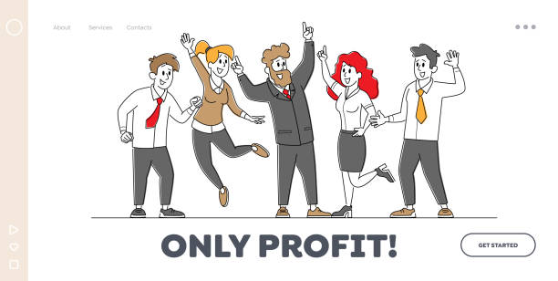 Business Colleagues Celebrate Success Landing Page Template. Successful Team Project Victory, Goal Achievement Business Colleagues Celebrate Success Landing Page Template. Successful Team Project Victory, Goal Achievement. Businesspeople Characters Rejoice for Good Job Done. Linear People Vector Illustration human limb stock illustrations