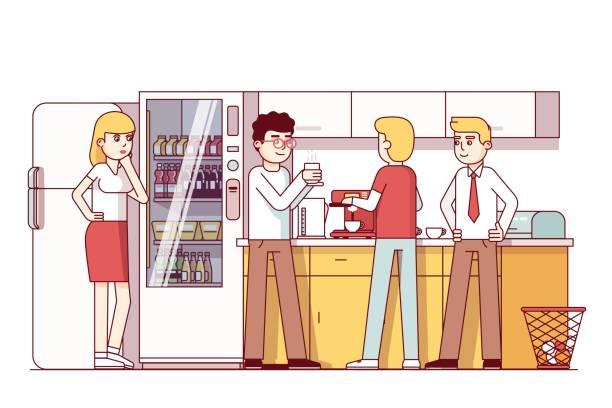 bildbanksillustrationer, clip art samt tecknat material och ikoner med affärskollegor äta i office kök - arbeta köksbord man